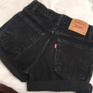 Black levi denim shorts